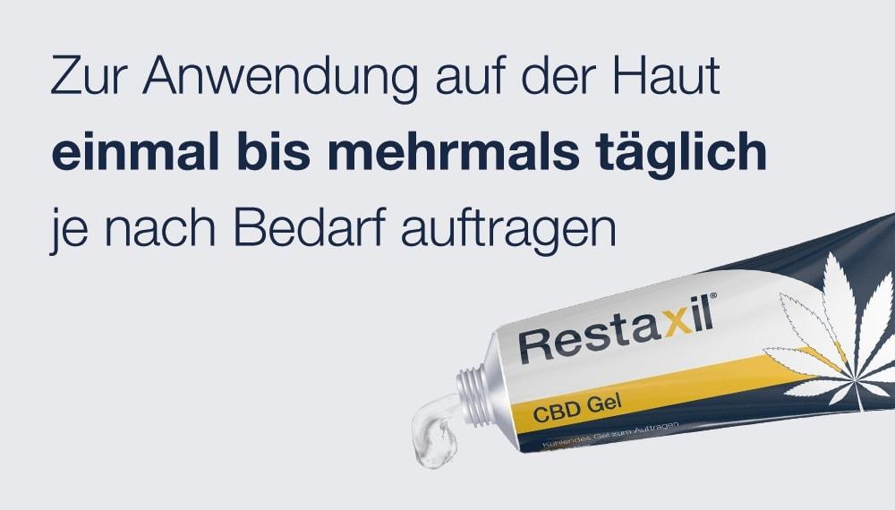 Restaxil® CBD Gel ist für die Anwendung auf der Haut geeignet. Je nach Bedarf einmal bis mehrmals täglich auf die entsprechenden Körperstellen auftragen.  Es sollte nicht auf offene Hautstellen aufgetragen werden oder in Berührung mit den Schleimhäuten geraten.